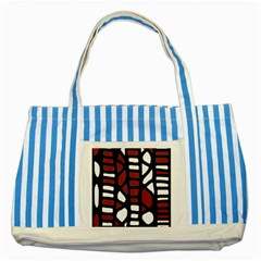 Red Decor Striped Blue Tote Bag by Valentinaart