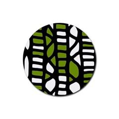 Green Decor Rubber Round Coaster (4 Pack)  by Valentinaart