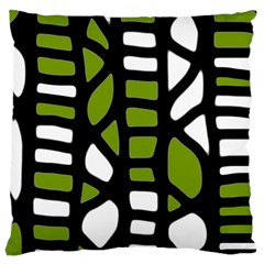 Green Decor Large Cushion Case (one Side) by Valentinaart
