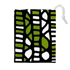 Green Decor Drawstring Pouches (extra Large) by Valentinaart