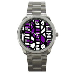 Purple Decor Sport Metal Watch by Valentinaart