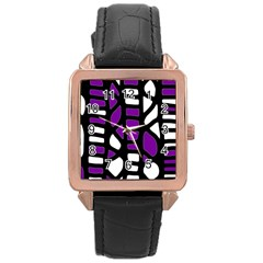 Purple Decor Rose Gold Leather Watch  by Valentinaart