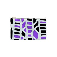 Purple Abstract Decor Cosmetic Bag (small)  by Valentinaart