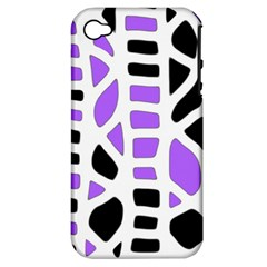 Purple Abstract Decor Apple Iphone 4/4s Hardshell Case (pc+silicone) by Valentinaart