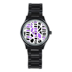Purple Abstract Decor Stainless Steel Round Watch by Valentinaart