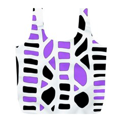 Purple Abstract Decor Full Print Recycle Bags (l)  by Valentinaart