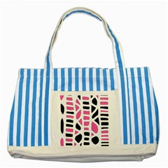 Pink Decor Striped Blue Tote Bag by Valentinaart