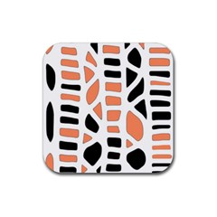 Orange Decor Rubber Square Coaster (4 Pack)  by Valentinaart