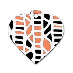 Orange Decor Dog Tag Heart (two Sides) by Valentinaart