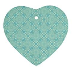 Light Blue Lattice Pattern Ornament (heart)  by TanyaDraws