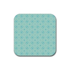 Light Blue Lattice Pattern Rubber Square Coaster (4 Pack)  by TanyaDraws