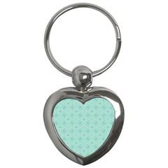 Light Blue Lattice Pattern Key Chains (heart)  by TanyaDraws