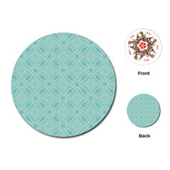 Light Blue Lattice Pattern Playing Cards (round)  by TanyaDraws