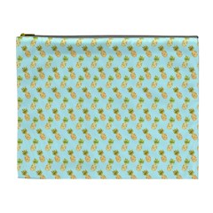 Tropical Watercolour Pineapple Pattern Cosmetic Bag (xl) by TanyaDraws
