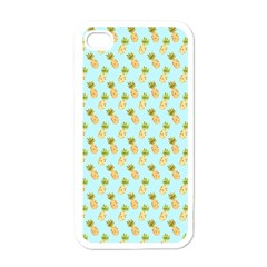 Tropical Watercolour Pineapple Pattern Apple Iphone 4 Case (white) by TanyaDraws