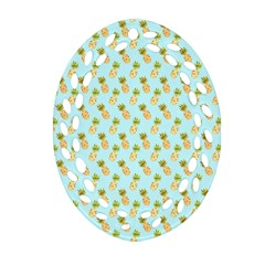Tropical Watercolour Pineapple Pattern Oval Filigree Ornament (2 Side)  by TanyaDraws