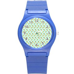 Tropical Watercolour Pineapple Pattern Round Plastic Sport Watch (s) by TanyaDraws