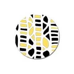 Yellow Decor Magnet 3  (round) by Valentinaart