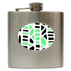 Light Green Decor Hip Flask (6 Oz) by Valentinaart