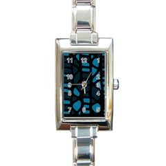 Deep Blue Decor Rectangle Italian Charm Watch by Valentinaart