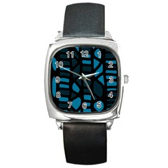 Deep Blue Decor Square Metal Watch by Valentinaart