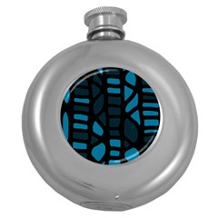 Deep Blue Decor Round Hip Flask (5 Oz) by Valentinaart