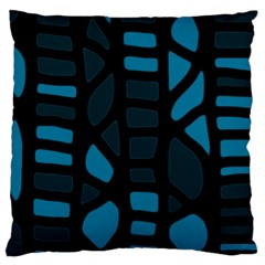 Deep Blue Decor Large Cushion Case (two Sides) by Valentinaart