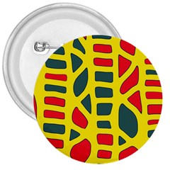 Yellow, Green And Red Decor 3  Buttons by Valentinaart