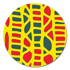 Yellow, Green And Red Decor Magnet 5  (round) by Valentinaart