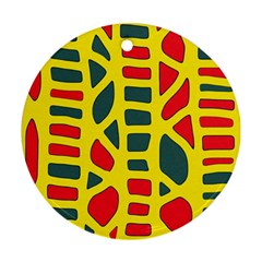 Yellow, Green And Red Decor Round Ornament (two Sides)  by Valentinaart