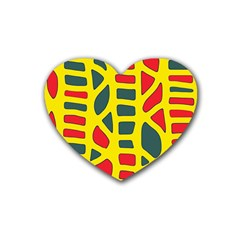 Yellow, Green And Red Decor Heart Coaster (4 Pack)  by Valentinaart