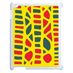 Yellow, Green And Red Decor Apple Ipad 2 Case (white) by Valentinaart