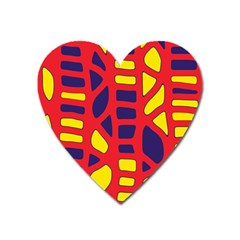 Red, Yellow And Blue Decor Heart Magnet by Valentinaart