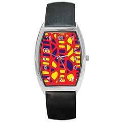 Red, Yellow And Blue Decor Barrel Style Metal Watch by Valentinaart