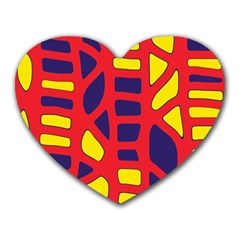 Red, Yellow And Blue Decor Heart Mousepads by Valentinaart