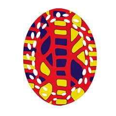 Red, Yellow And Blue Decor Oval Filigree Ornament (2 Side)  by Valentinaart