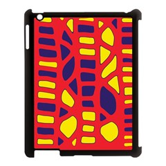 Red, Yellow And Blue Decor Apple Ipad 3/4 Case (black) by Valentinaart