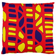Red, Yellow And Blue Decor Large Flano Cushion Case (two Sides) by Valentinaart