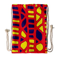 Red, Yellow And Blue Decor Drawstring Bag (large) by Valentinaart