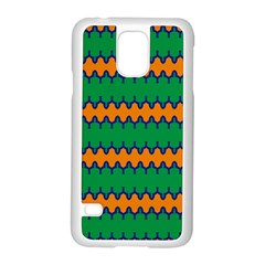 Orange Green Chains                                                                                           			samsung Galaxy S5 Case (white) by LalyLauraFLM