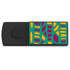 Green, Purple And Yellow Decor Usb Flash Drive Rectangular (4 Gb)  by Valentinaart