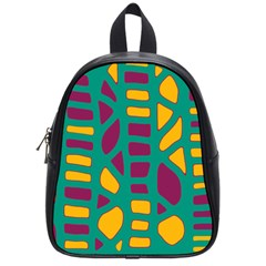 Green, Purple And Yellow Decor School Bags (small)  by Valentinaart