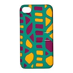 Green, Purple And Yellow Decor Apple Iphone 4/4s Hardshell Case With Stand by Valentinaart