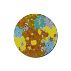 Paint Strokes                                                                                               rubber Round Coaster (4 Pack) by LalyLauraFLM