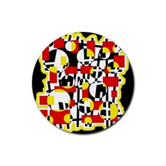Red And Yellow Chaos Rubber Coaster (round)  by Valentinaart
