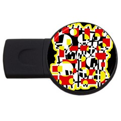 Red And Yellow Chaos Usb Flash Drive Round (2 Gb)  by Valentinaart