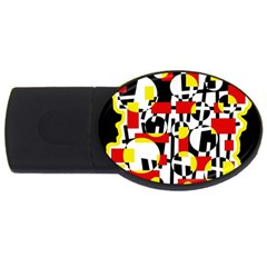 Red And Yellow Chaos Usb Flash Drive Oval (2 Gb)  by Valentinaart