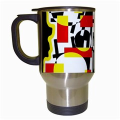 Red And Yellow Chaos Travel Mugs (white) by Valentinaart