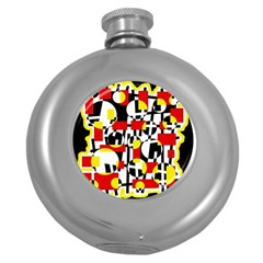 Red And Yellow Chaos Round Hip Flask (5 Oz) by Valentinaart