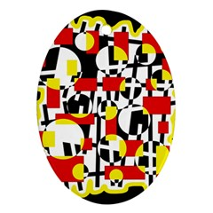 Red And Yellow Chaos Oval Ornament (two Sides) by Valentinaart